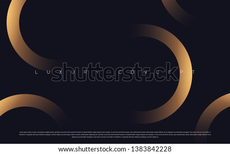 Black premium background with luxury dark golden geometric elements. Rich background for poster, banner, flyer etc. Vector EPS Royalty-Free Stock Photo #1383842228