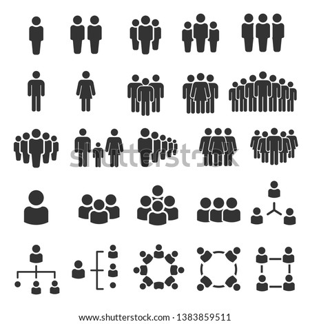 Grouping People Ilustration Icons Vector Royalty-Free Stock Photo #1383859511