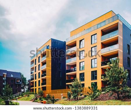 Modern European residential buildings quarter. Other outdoor facilities. #1383889331