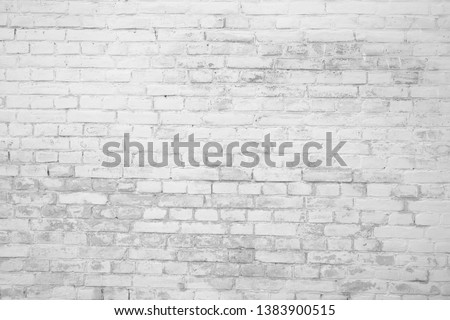 Black and white brick texture with scratches and cracks. Old vintage brick wall pattern. Brick work background. #1383900515