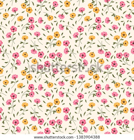 Seamless vector ornamental floral pattern. Background for printing on paper, wallpaper, covers, textiles, fabrics, for decoration, decoupage, scrapbooking and other #1383904388