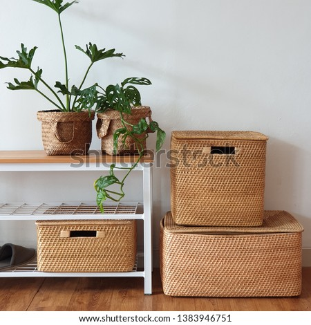 bench industrial with rattan box all size Royalty-Free Stock Photo #1383946751