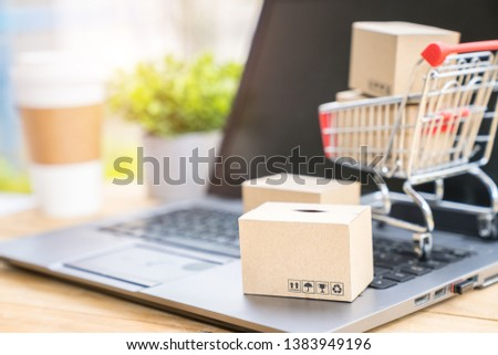 Shopping online and electronic commerce concept, Boxes and supermarket cart on computer laptop #1383949196