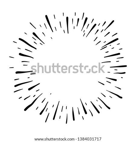 Starburst doodle, hand drawn design element. Sun burst sketch illustration. #1384031717