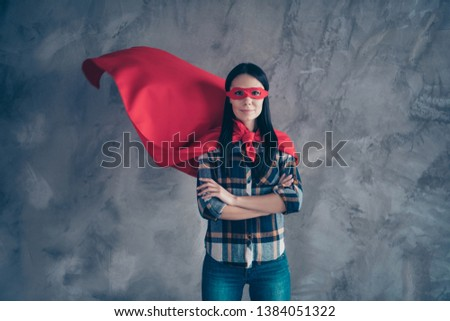 Close up photo beautiful fearless she her superpower lady comics costume heroine women equal rights concept strong hands arms wear red eye mask flight mantle home room loft apartment flat indoors #1384051322