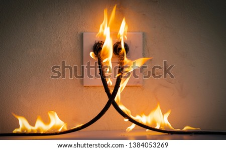 On fire electric wire plug Receptacle wall partition,Electric short circuit failure resulting in electricity wire burnt  #1384053269