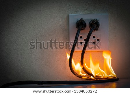 On fire electric wire plug Receptacle wall partition,Electric short circuit failure resulting in electricity wire burnt  #1384053272
