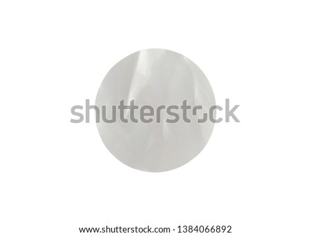 Blank white circle paper sticker label isolated on white background with clipping path #1384066892
