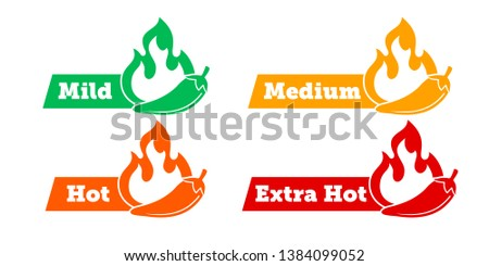 Spicy chili hot pepper level labels. Vector spicy food green mild, medium and red extra hot, jalapeno pepper fire flame, sauce package icons #1384099052