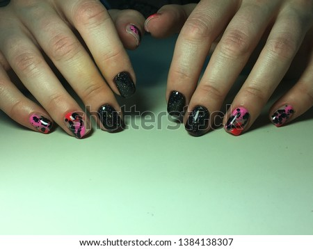 Fashionable black with pink manicure #1384138307