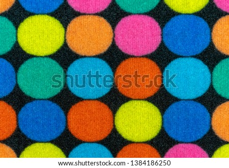 Texture of the rug with colored circles. Background for design and decoration. #1384186250