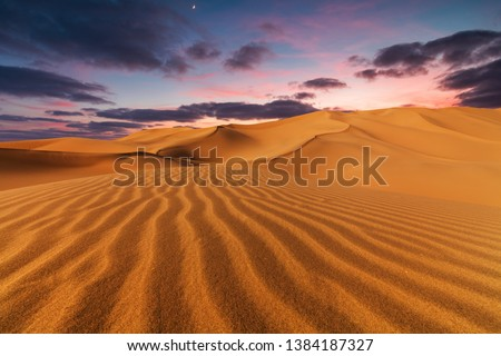 Sunset over the sand dunes in the desert. #1384187327