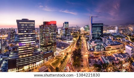 LIMA, PERU: Panoramic view of skyline in San Isidro district at blue time. #1384221830
