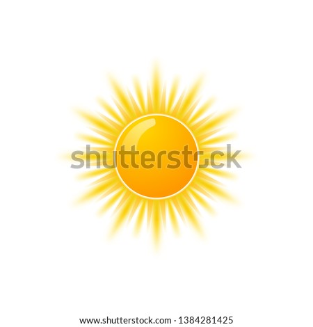 Realistic sun icon for weather design. Sunshine symbol happy orange isolated sun illustration.