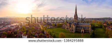 Aerial view of Salisbury cathedral in the spring morning Royalty-Free Stock Photo #1384295888