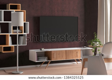 TV screen on the red wall in modern living room. 3d illustration #1384325525
