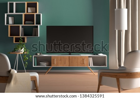 TV on the cabinet in modern living room on turquoise wall background. 3d illustration #1384325591