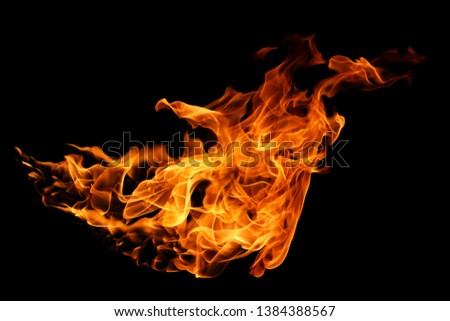 movement of fire flames isolated on black background. abstract background #1384388567