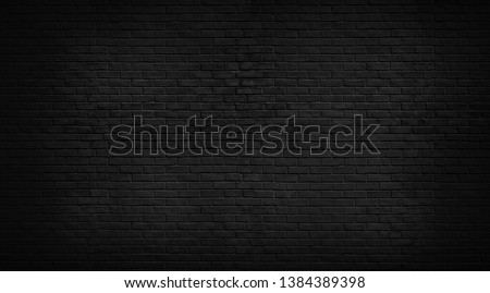 Abstract Black brick wall texture for pattern background. wide panorama picture. #1384389398