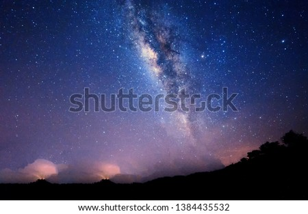 Starry night sky  with Milky Way Galaxy for background. soft focus and noise due to high iso and long exposure.