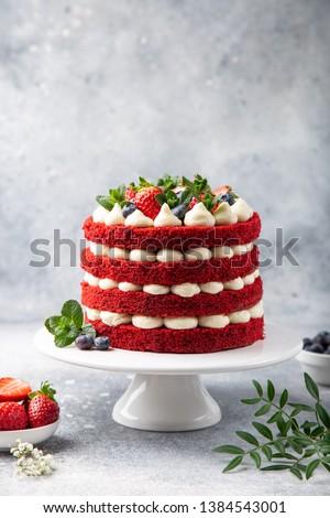 festive  Red Velvet cake on white cake stand,  selective focus, #1384543001