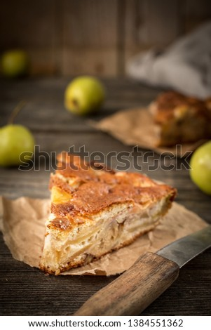 Apple pie on a wooden background, selective focus. Homemade Organic Apple Pie Dessert Ready to Eat #1384551362