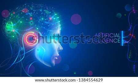 Artificial intelligence in humanoid head with neural network thinks. AI with Digital Brain is learning processing big data, analysis information. Face of cyber mind. Technology background concept. #1384554629