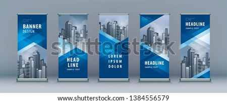 Business Roll Up Set. Standee Design. Banner Template, Abstract Blue Geometric Triangle Background vector, flyer, presentation, leaflet, j-flag, x-stand, x-banner, exhibition display #1384556579
