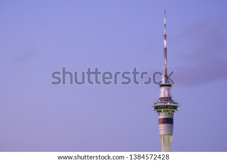 Close up of The Sky Tower, the tallest building in the Auckland Skyline. #1384572428
