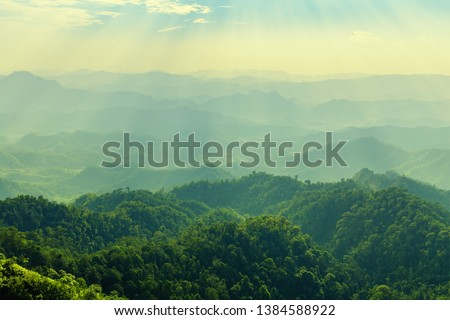 High mountain in morning time. Beautiful natural landscape #1384588922