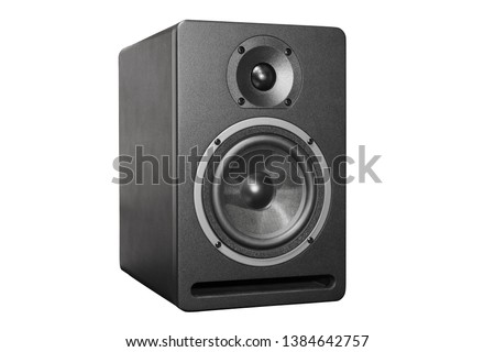 Black box acoustic system with speaker isolated on white. #1384642757