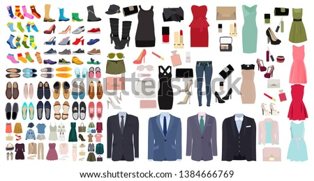 set of men's and women's shoes and clothes #1384666769