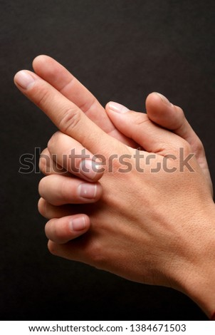 Hand gesture with fingers together #1384671503