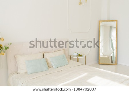Bright bedroom, double bed in the interior room #1384702007