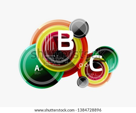 Colorful glossy circles background. Vector #1384728896