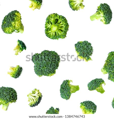 Broccoli Pattern. Summer  Vegetable background. Broccoli isolated  #1384746743