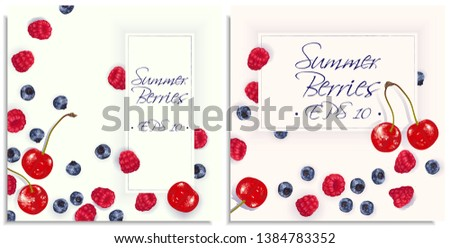 Vector postcard inviting with hand-drawn realistic raspberry, cherry, blaeberry, like paints, juicy colors, appetizing, fresh, tasty, distinct over the light background. Lettering: summer berries #1384783352