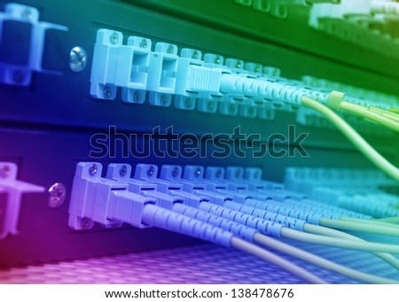 network cables and servers in a technology data center #138478676