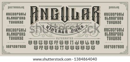 Angular display font with serifs and drop shadow in retro style. Perfect for alcohol labels, vintage tattoo logos, headlines and many other. All elements are on the separate layers. #1384864040