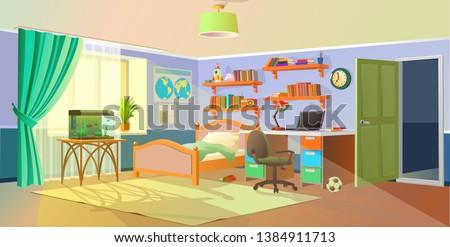 Interior. Boys room with table, computer, bookshelf. Flat cartoon vector illustration.Cozy interior of children's room, furniture, window, aquarium. Teenager room with workplace.