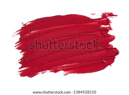 Red smear of matte lip gloss isolated on white background. #1384928510
