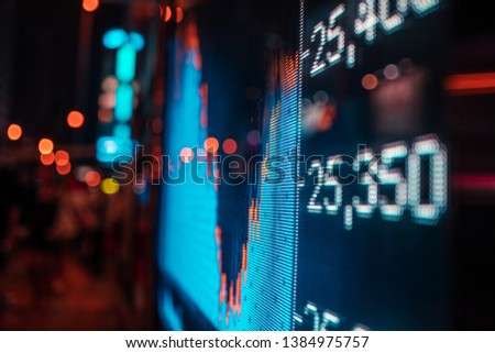 Financial stock exchange market display screen board on the street, selective focus