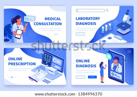Medical concept  banners templates. Can use for backgrounds, infographics, hero images. Flat isometric modern vector illustration. Royalty-Free Stock Photo #1384996370