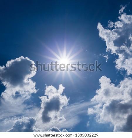 sun light on dramatic moody sky with cloudy #1385032229