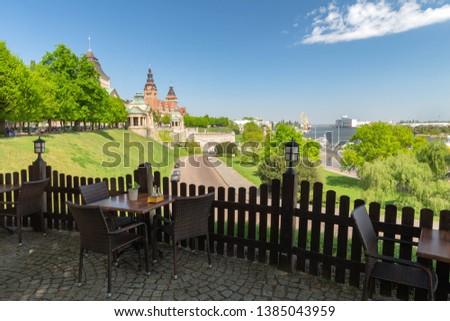 Szczecin, View on Chrobry embankment the Odra River and boulevards Royalty-Free Stock Photo #1385043959