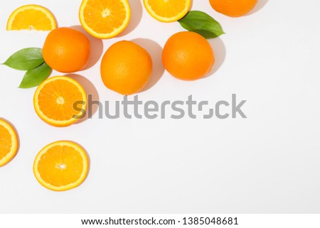 Flat lay composition with oranges and space for text on white background. Top view #1385048681