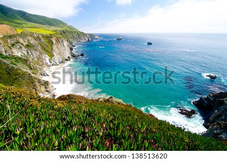 A Beautiful View of the California Coastline along State Road 1. #138513620