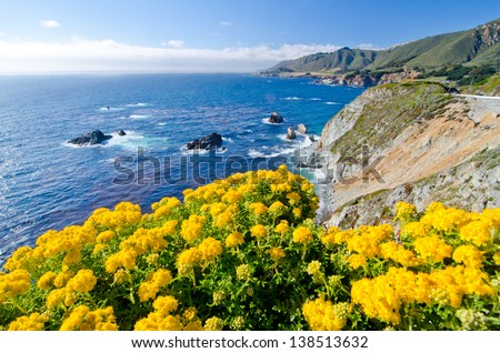 A Beautiful View of the California Coastline along State Road 1. #138513632