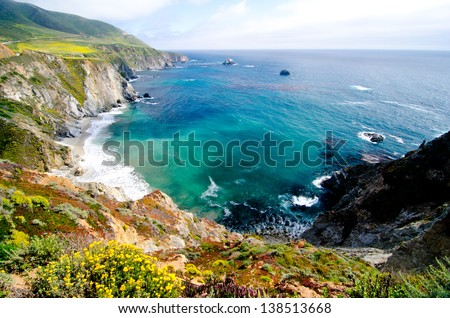 A Beautiful View of the California Coastline along State Road 1. #138513668