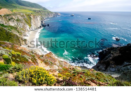 A beautiful view of California's coastline along California State Route 1, one of the most famous and spectacular drives in the United States. #138514481